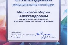 Малькова Мария_Б-161_Свид-во муниц. стипендиата_