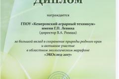 Диплом лауреата ДОиН КО_обл. конкурс ЭКО след-2017