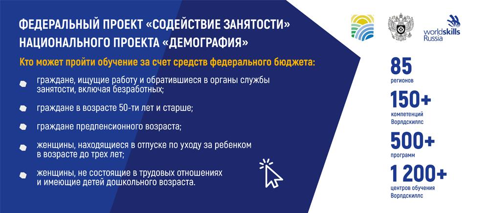 """Федеральный проект """"Содействие занятости"""" национального проекта """"Демография"""""""